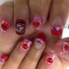 Happy Valentine's #opi #gelcolor #gelpolish #swarovskicrystal #nailart
