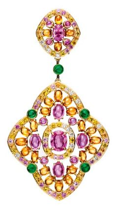 Boucheron Isola Bella earrings, set with pink oval sapphires, paved with orange, pink and yellow sapphires and diamonds, on yellow gold.