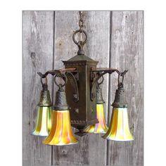 Antique Arts & Crafts Fixture with Steuben Gold Aurene Art Glass Shades #https://www.pinterest.com/munlimited/