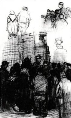 Sketches for the Drawing of an Auction - Vincent van Gogh