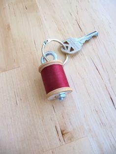 spool of thread key chain
