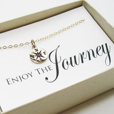 Compass Necklace, 14k gold filled - Graduation Gift, Graduate Gift