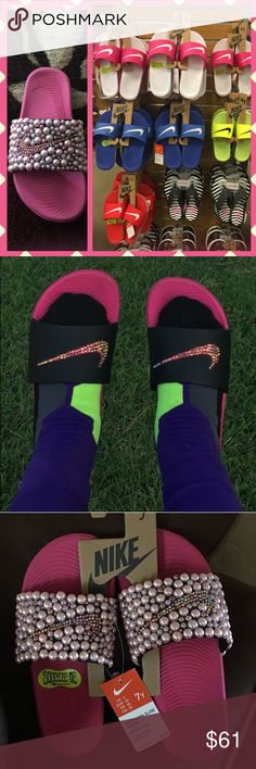 Nike Custom Slides 2016 Pick your colors and size and I'll do the rest. Custom  women's Nike slides available with Swarovski crystals and embellished pearl  ...