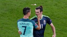 Ronaldo and Bale greet each other after the end of the semi-final
