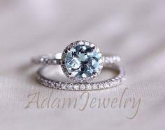 Discount! Fancy Aquamarine Ring Set 7mm Round Cut Diamonds Solid & 14K White Gold Wedding Ring/  Engagement Ring / Anniversary Ring