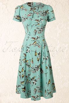Hell Bunny - 50s Birdy Dress in Aqua Blue