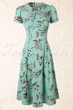 Bunny - 50s Birdy Dress in Aqua Blue
