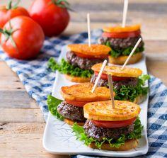 SPOON: Sliders with Sweet Potato Buns #sliders #BBQ #sweetpotatos #realfitkitchen #healthyrecipes #dadfood #summerfood #backyardparties #appetizers