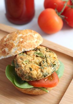 Spinach and feta chickpea burgers