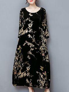 b0bbd2f19e9c6 Plus Size Elegant Women Gold Velvet Dress Silk Blended Retro Printing  Dresses - Banggood Mobile