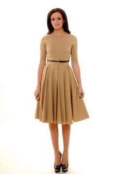 The Pretty Dress Company - Beige Hepburn Full Circle 50s retro shift dress