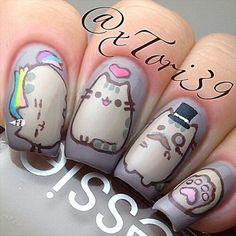Beautiful nail art designs that are just too cute to resist. It's time to try out something new with your nail art. Nail Art Grey, Cat Nail Art, Cat Nails, Emoji Nails, Nail Art Modele, Kawaii Nail Art, Back To School Nails, Beauty Nail, Nails For Kids