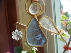 Suncatcher Angel Stained Glass 3 inch Blue Clear Gold Metal w Snowflake Frosted #Unbranded