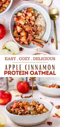 Warm Apple Cinnamon Oatmeal that's packed with protein and has the cozy flavors of fall we love so much! You guys are in for a treat with this bowl of creamy, delicious oats, topped with caramelized bites of tender apples and crunchy pecans to make for the most perfect nutritious, satisfying breakfast.