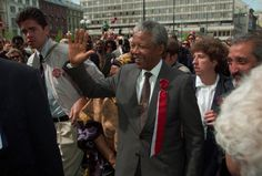 Nelson Mandela in Oslo on Norway's constitution day, 17th of may 1992 Photo by Terje Akerhaug