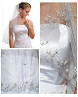 Gogh 2T 2 Tier Silver Lined Beaded Edge Fingertip Length Bridal Wedding Veil 09