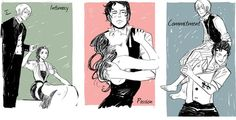 """Jem, Will and Tessa from the Infernal Devices   Presented to you as representing the """"Triangular Theory of Love""""! (intimacy, passion and commitment)"""