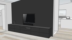TAILORED TV SOLUTION - Therese Knutsen Media Storage, Dream House Exterior, Ikea, Lounge, Living Room, Tv, Black Walls, Furniture, Home
