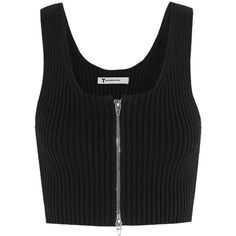 T by Alexander Wang Cropped ribbed-knit cotton-blend top (1.940 ARS) ❤ liked on Polyvore featuring tops, crop tops, black, t by alexander wang, cropped tops, zipper crop top, zipper top and zip crop top