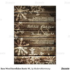 Barn Wood Snowflakes Rustic Winter Wedding 5x7 Paper Invitation Card