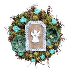 Angyalkás koszorú – menta Christmas Wreaths, Floral Wreath, Holiday Decor, Home Decor, Mint, Decoration Home, Room Decor, Wreaths, Advent Wreaths