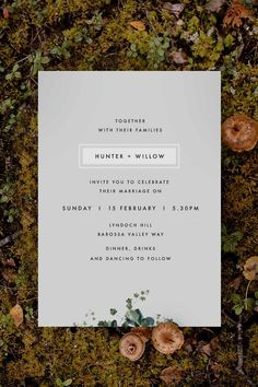 Stunning modern grey botanical Wedding Invitation by Sail and Swan Studio. The design features a pale grey background with wild botanicals, native greenery and leaves, set with a modern, minimal look and font.