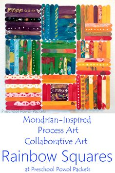 A brilliant way to learn about a famous artist (Piet Mondrian) and use process art to create a stunning collaborative art project! Perfect for all ages: preschoolers, kindergarteners, elementary students, and even older kids! Also great for team-building!
