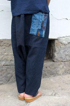 アンティークリネン×染×古布 サルエルパンツ(青藍色) [PANTS-242]