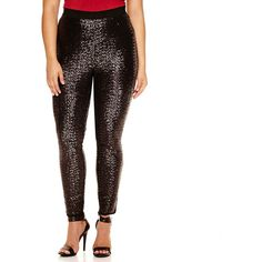 Details about PLUS SIZE SEQUIN LEGGINGS FULLY LINED! BLACK GOLD ...