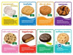 Cookie Cards with information about each cookie variety available this year- great reference sheet to have at booths