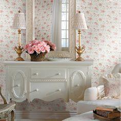 CG11354 Pink Peony Floral Trail - Priscilla - Cottage Garden Wallpaper by Chesapeake