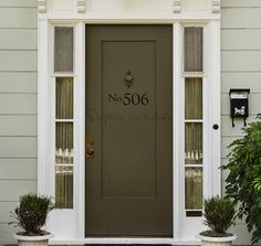TEN BEST FRONT DOOR COLORS FOR YOUR HOUSE. Front doors should be an accent color. In other words, they should be a strong, dramatic, bold shade. Usually, your front door color should not be repeated anywhere else on your house Best Front Door Colors, Best Front Doors, Green Front Doors, Painted Front Doors, The Doors, Front Door Awning, Door Overhang, Dark Front Door, Front Door Molding