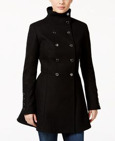 Calvin Klein Double-Breasted Wool-Blend Skirted Swing Coat