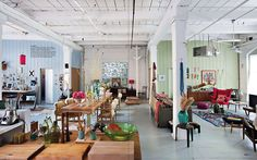 use wall color to distinguish rooms in a loft