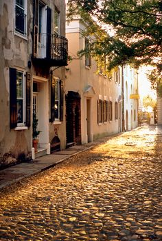 A New Day… Sunrise on a Cobblestone Street, Charleston, SC© Doug Hickok All Rights ReservedMore here… hue and eye.was here for vacation with my husband. Charleston South Carolina, Charleston Sc, Sunrise Photography, Eye Photography, Vacation Spots, Places To See, Beautiful Places, Scenery, Around The Worlds