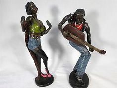 UNIQUE! HONKY TONK Woman Man African American Figures Singing & Playing Guitar