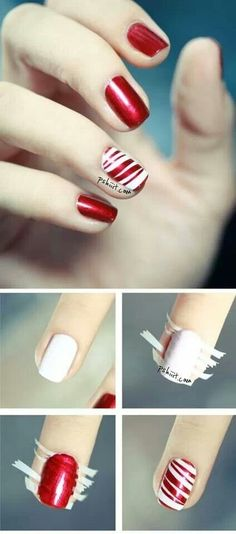 Candy Cane Accent /  15 Holiday Manicures That Are Actually Easy (via BuzzFeed)