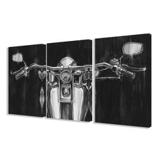 Modernize your man cave with this black and white motorcycle canvas set. Featuring an expansive monochromatic portrait of a motorcycle across three canvases, each piece comes stretched and convenientl
