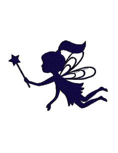 INSTANT Download - Fairy silhouette digital machine embroidery design fill and outline via Etsy