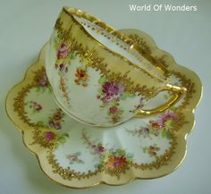 Cup and saucer by Dresden. Antique Tea Cups, Antique Dishes, Teapots And Cups, Teacups, China Tea Cups, My Cup Of Tea, Chocolate Pots, Tea Cup Saucer, Vintage Tea
