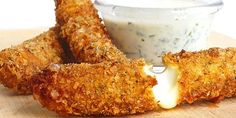 You know you love them -- Crispy gooey homemade mozzarella sticks served with a refreshing herb-packed buttermilk dip. Homemade Mozzarella Sticks, Mozzarella Cheese Sticks, Holiday Appetizers, Yummy Appetizers, Appetizer Ideas, Milk Recipes, Cheese Recipes, Cookie Recipes, Cheese Sticks Recipe