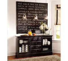 I love the chalkboard sign as decor.  Smaller version for the kitchen?
