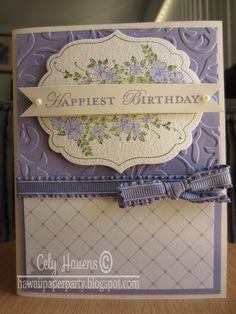 Handmade Greeting Card Stampin Up Happy Birthday Purple Elegant. $6.00, via Etsy.