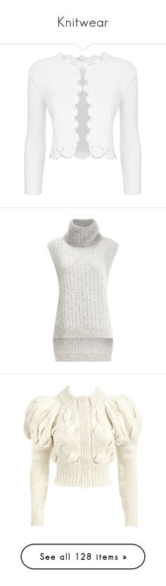"""""""Knitwear"""" by jewelsinthecrown ❤ liked on Polyvore featuring tops, cardigans, jackets, outerwear, white, summer crop tops, maje, ribbed knit crop top, cut-out crop tops and summer tops"""