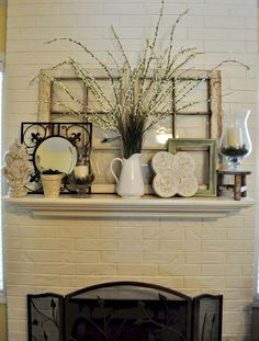 Awesome 75 Rustic Fall Mantel Decorating Ideas https://homstuff.com/2017/09/12/75-rustic-fall-mantel-decorating-ideas/