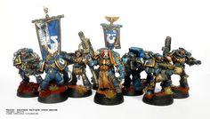 40k,Space Marines, Ultramarines, Weathered, Command Squad