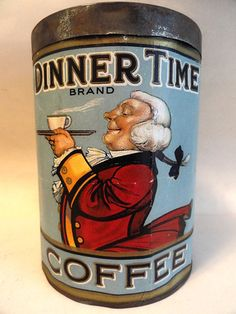Vintage DINNER TIME Coffee Early Tin Can Antique Flint MI Old Advertising RARE