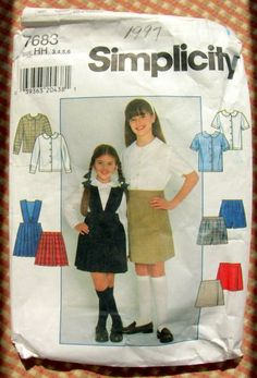 Girl's School Uniform Blouse and Skirt Vintage Sewing Pattern Simplicity 7683