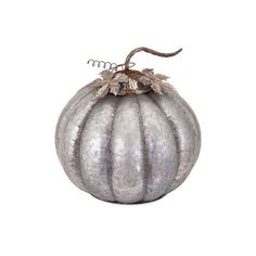 IMAX Home 89965 Kellan Galvanized Pumpkin - Large Home Decor (105 CAD) ❤ liked on Polyvore featuring home, home decor, accents, statues & figurines, pumpkin home decor, pumpkin figurines en rustic home decor