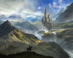 Open World by jbrown67 mountains lake waterfalls city castle bridge landscape location environment architecture | Create your own roleplaying game material w/ RPG Bard: www.rpgbard.com | Writing inspiration for Dungeons and Dragons DND D&D Pathfinder PFRPG Warhammer 40k Star Wars Shadowrun Call of Cthulhu Lord of the Rings LoTR + d20 fantasy science fiction scifi horror design | Not Trusty Sword art: click artwork for source